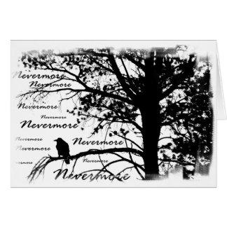 Black & White Nevermore Raven Silhouette Card