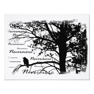 Black & White Nevermore Raven Silhouette Card
