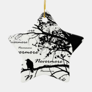 Black & White Nevermore Raven Silhouette Ceramic Ornament