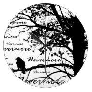 Black & White Nevermore Raven Silhouette Clock