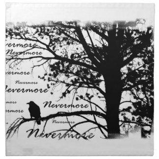 Black & White Nevermore Raven Silhouette Cloth Napkin
