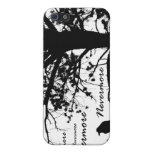 Black & White Nevermore Raven Silhouette Cover For iPhone 5/5S