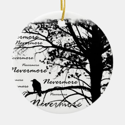 Black & White Nevermore Raven Silhouette Double-Sided Ceramic Round Christmas Ornament