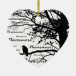 Black & White Nevermore Raven Silhouette Double-Sided Heart Ceramic Christmas Ornament