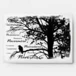 Black & White Nevermore Raven Silhouette Envelope