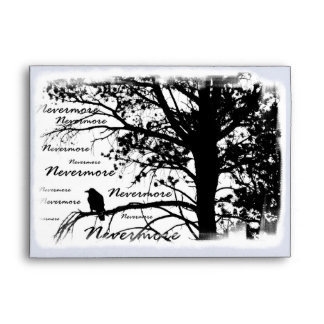 Black & White Nevermore Raven Silhouette Envelope