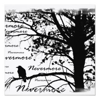 Black & White Nevermore Raven Silhouette Invites