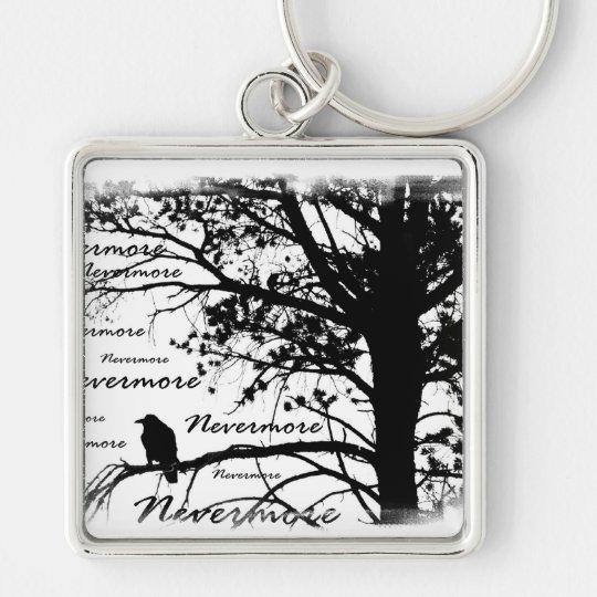 Black & White Nevermore Raven Silhouette Keychain
