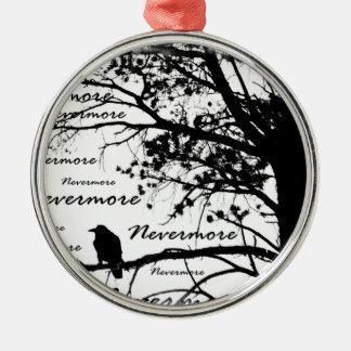 Black & White Nevermore Raven Silhouette Metal Ornament