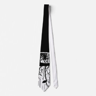 Black & White Nevermore Raven Silhouette Neck Tie
