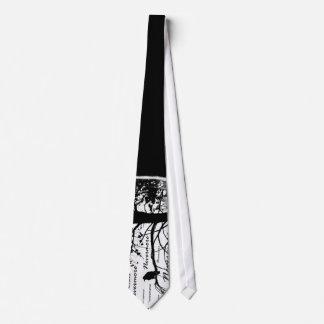 Black & White Nevermore Raven Silhouette Neck Tie