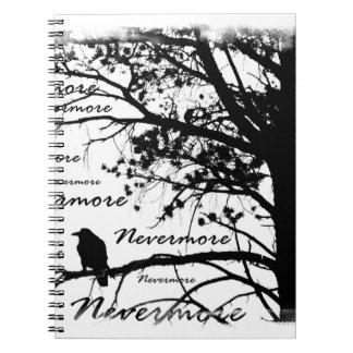 Black & White Nevermore Raven Silhouette Spiral Note Books
