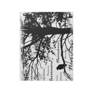 Black & White Nevermore Raven Silhouette Notepad