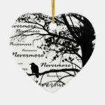 Black & White Nevermore Raven Silhouette Double-Sided Heart Ceramic Christmas Ornament