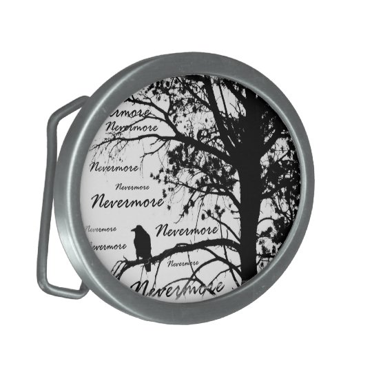 Black & White Nevermore Raven Silhouette Oval Belt Buckle