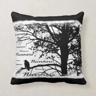 Black & White Nevermore Raven Silhouette Pillow