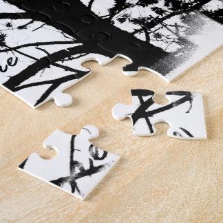 Black & White Nevermore Raven Silhouette Puzzle