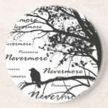 """Black &amp; White Nevermore Raven Silhouette Sandstone Coaster<br><div class=""""desc"""">Black &amp; White Nevermore Raven Silhouette A unique tribute to Edgar Allan Poe. &quot;Nevermore&quot; Raven silhouette black and white photo printed on a wide array of clothing, gifts, party favors, novelties and collectibles. Makes a great Halloween gift or a unique gift for anyone into Gothic poetry or Edgar Allan Poe....</div>"""