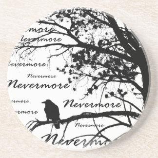 Black & White Nevermore Raven Silhouette Sandstone Coaster