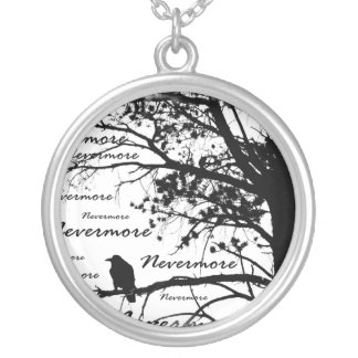 Black & White Nevermore Raven Silhouette Silver Plated Necklace