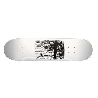 Black & White Nevermore Raven Silhouette Skateboard
