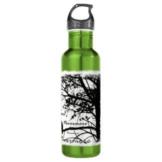 Black & White Nevermore Raven Silhouette Stainless Steel Water Bottle