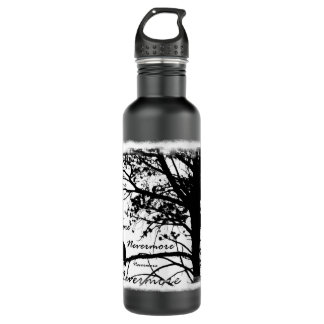 Black & White Nevermore Raven Silhouette Stainless Steel Water Bottle