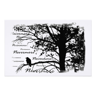 Black & White Nevermore Raven Silhouette Customized Stationery