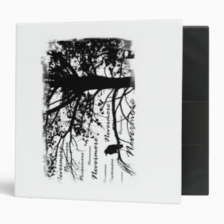 Black & White Nevermore Raven Silhouette Tree 3 Ring Binder