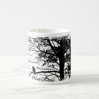 Black & White Nevermore Raven Silhouette Tree Coffee Mug