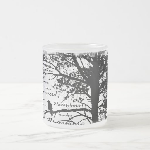 Black & White Nevermore Raven Silhouette Tree Frosted Glass Coffee Mug
