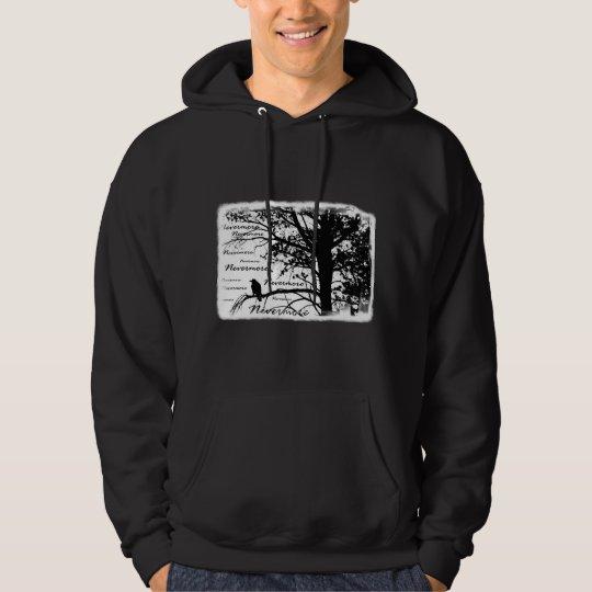 Black & White Nevermore Raven Silhouette Tree Hoodie