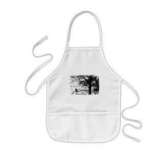Black & White Nevermore Raven Silhouette Tree Kids' Apron