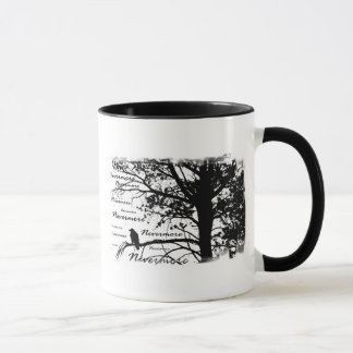 Black & White Nevermore Raven Silhouette Tree Mug