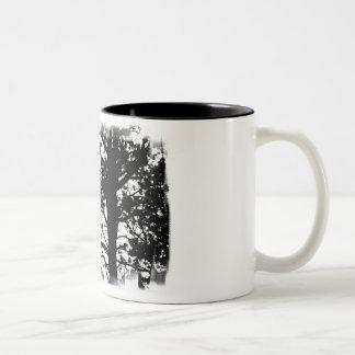 Black White Nevermore Raven Silhouette Tree Mugs
