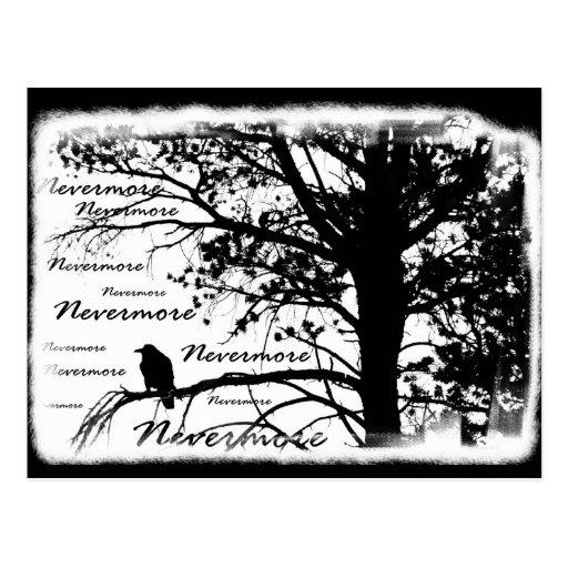 Black & White Nevermore Raven Silhouette Tree Postcard