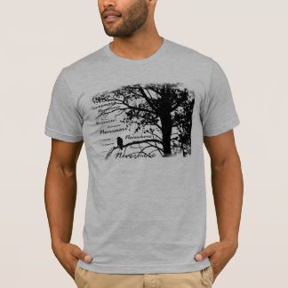 Black & White Nevermore Raven Silhouette Tree T-Shirt