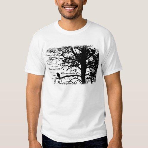 Black & White Nevermore Raven Silhouette Tree T-Shirt
