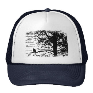 Black & White Nevermore Raven Silhouette Tree Trucker Hat