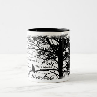 Black & White Nevermore Raven Silhouette Tree Two-Tone Coffee Mug
