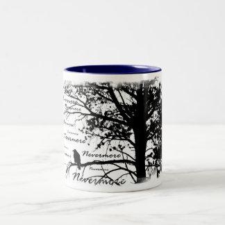 Black & White Nevermore Raven Silhouette Tree Two-Tone Coffee Mug