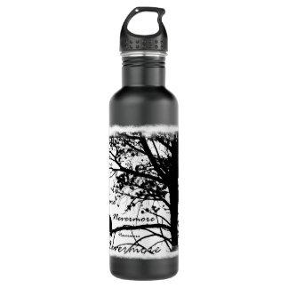 Black & White Nevermore Raven Silhouette Water Bottle
