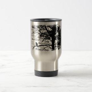 Black & White Nevermore Silhouette Raven 15 Oz Stainless Steel Travel Mug