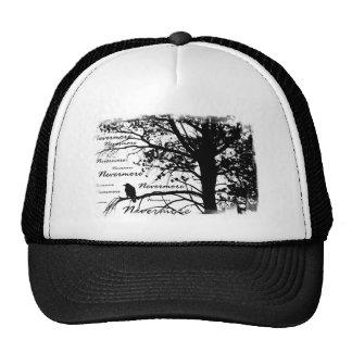 Black & White Nevermore Silhouette Raven Trucker Hat
