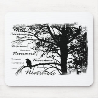 Black White Nevermore Silhouette Raven Mouse Pads