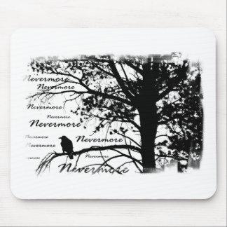 Black & White Nevermore Silhouette Raven Mouse Pad