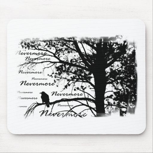 Black & White Nevermore Silhouette Raven Mouse Pads