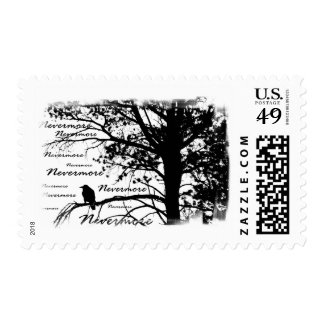 Black & White Nevermore Silhouette Raven Postage Stamp