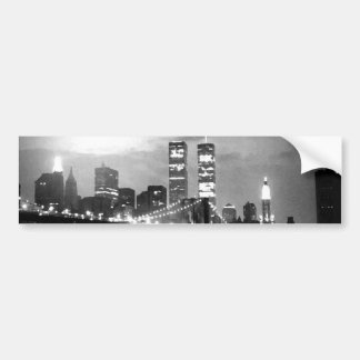 Black & White New York City at Night Car Bumper Sticker