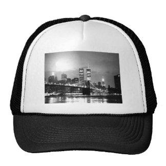 Black & White New York City at Night Hats